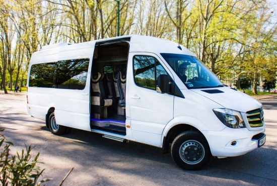 budapest airport transfers and sightseeing tours mercedes luxury minibus outside