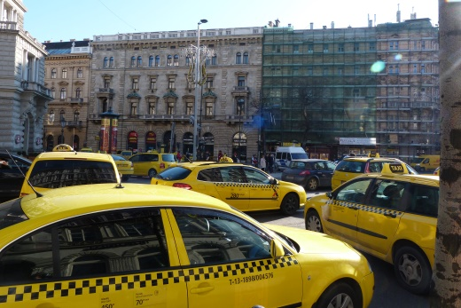 taxi drivers protesting on the streets of budapest